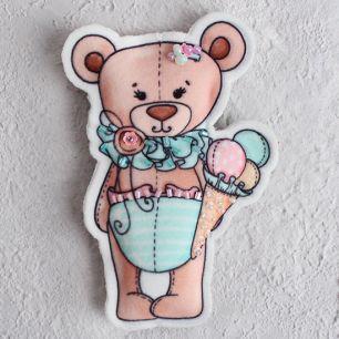 Набор для шитья текстильного брелока-подвески Мишка плюшевый