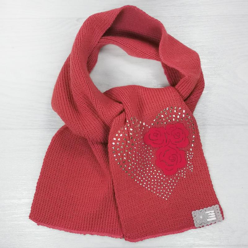 ш1004-6023 Шарф детский со стразами Сердечко терракот/красный