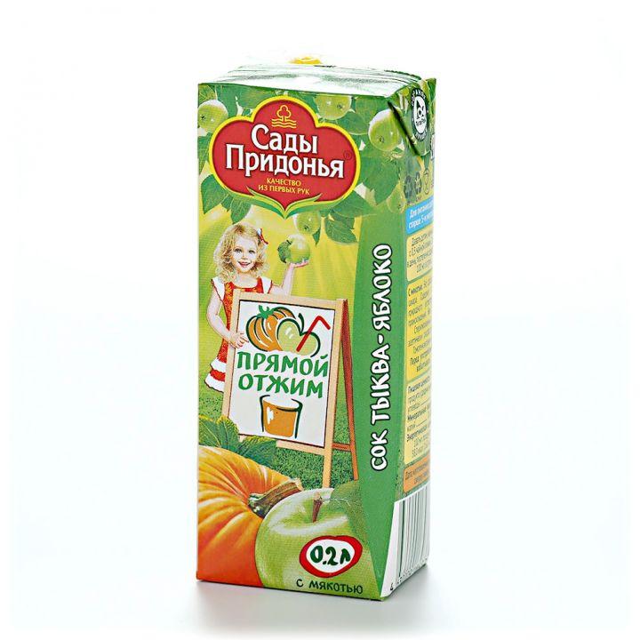 Сок Сады придонья 0,2л яблоко-тыква прямой отжим с мякотью