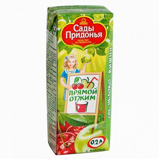 Сок Сады придонья 0,2л яблоко-вишня прямой отжим с мяк.