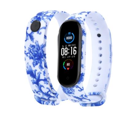 Сменный ремешок с рисунком на фитнес-браслет Xiaomi mi band 5/6 ( Орнамент синий )