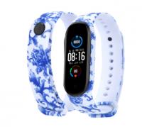Сменный ремешок с рисунком на фитнес-браслет Xiaomi mi band 5 ( Орнамент синий )