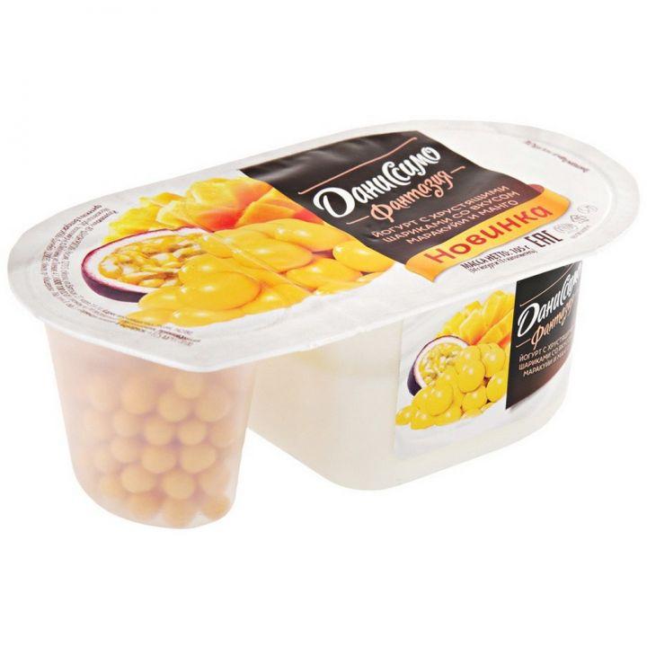 Йогурт Даниссимо Фантазия 6,9% 105г Манго/маракуйя хруст шарики Данон