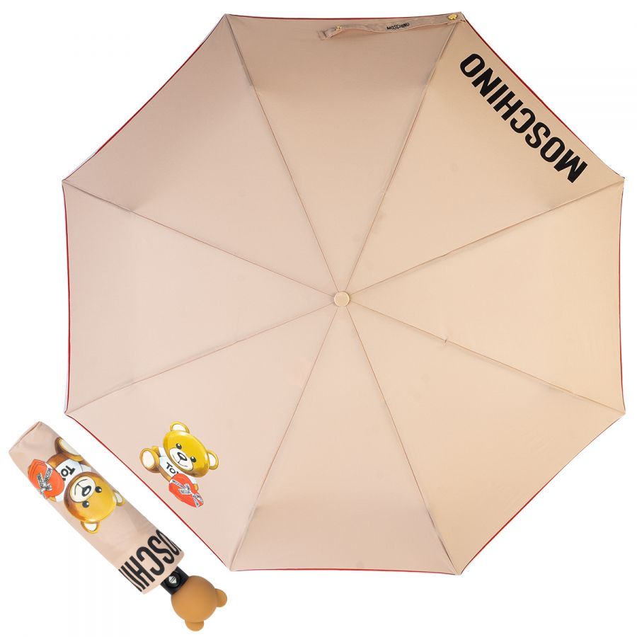 Зонт складной Moschino 8080-OCA Gift Bear Dark Beige