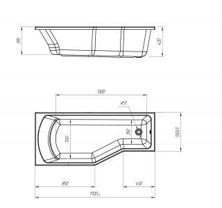 Ванна акриловая Marka One Convey 170x75