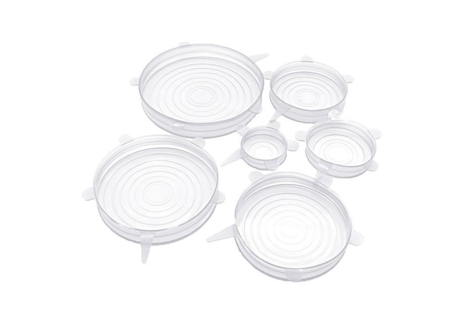 Набор силиконовых крышек Super Stretch Silicon Lids, 6 штук (Белый)