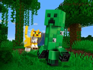 Конструктор LARI Minecraft Большие фигурки Minecraft, Крипер и Оцелот 11474 (Аналог LEGO Minecraft 21156) 184 дет