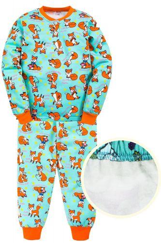 """Пижама с начесом для девочек 7-10 лет Bonito kids """"Лисичка"""" бирюзовая"""