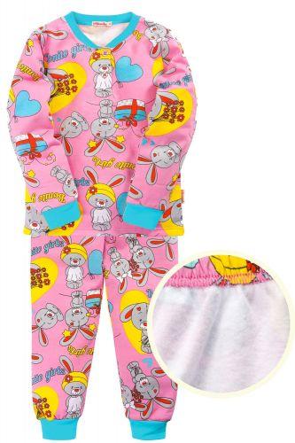 """Пижама с начесом для девочек 7-10 лет Bonito kids """"Зайка"""" розовая"""