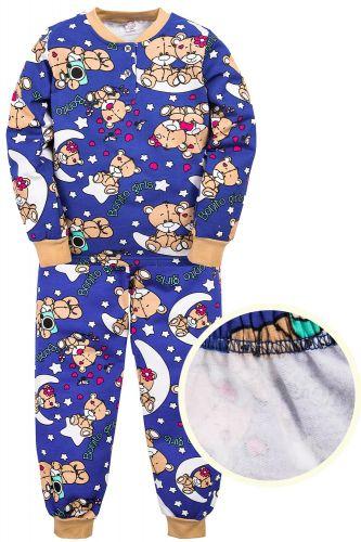 """Пижама с начесом для девочек 7-10 лет Bonito kids """"Мишка"""" темно-синяя"""