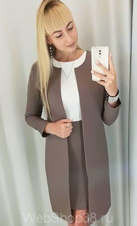 Костюм платье и кардиган цвет кофейный