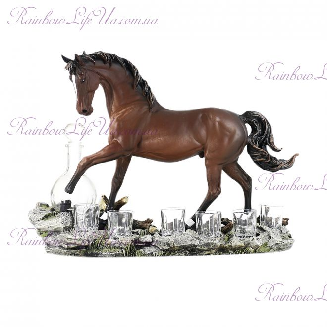 """Штоф """"Лошадь"""" с графином и рюмками"""