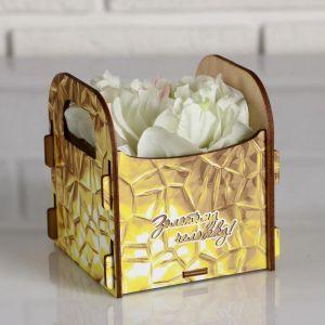 """Кашпо деревянное подарочное Рокси Смит """"Золотому человеку!"""", коробка с наклейкой 5165133"""