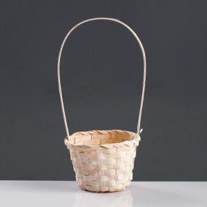 Корзина плетёная, бамбук, белая, (цилиндр)