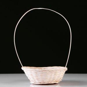 Корзина плетеная, бамбук, D19xH5 см, белый 4821947