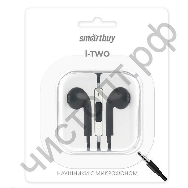 Гарнитура (науш.+микр.) для сотов. SmartBuy I-two,  микрофон с кнопкой принятия вызова, черная (SBH-103)