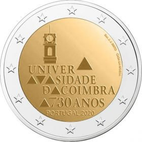 730 лет университету Коимбра 2 евро Португалия 2020