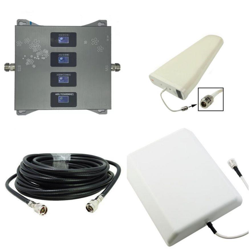 Четырехдиапазонный GSM усилитель 2G/DCS/3G/4G (900/1800/2100/2600 мГц) максимальный комплект