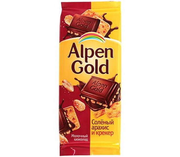 Шоколад Alpen Gold соленый молоч/арахис/крекер 90г