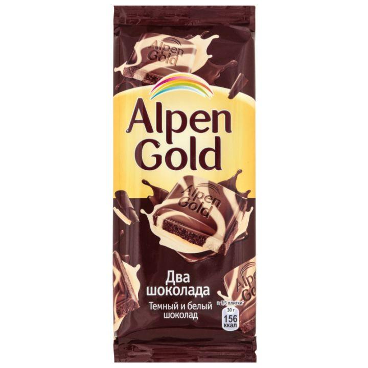Шоколад Alpen Gold темный и белый 90г