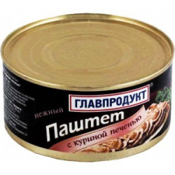 Паштет Главпродукт 95г Печеночный нежный с кур. печенью ж/б