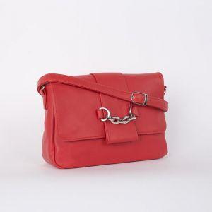 Сумка женская, отдел на клапане, наружный карман, длинный ремень, цвет красный
