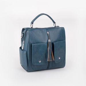 Сумка женская, отдел на молнии, 3 наружных кармана, длинный ремень, цвет голубой