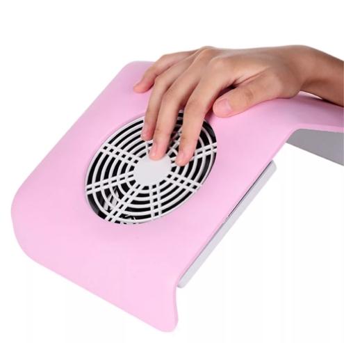 Подставка пылесос настольный для маникюра с вентилятором розовый