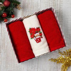 Набор полотенец «Новогодний мишка» 30х60 см- 3 шт