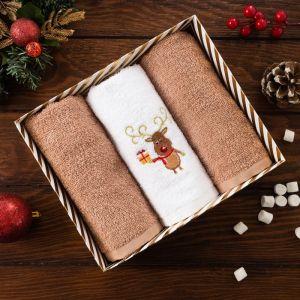 Набор полотенец «Олень с подарком» 30х60 см -3 шт
