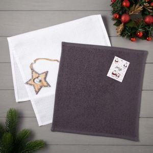 Набор полотенец LoveLife «Новогодняя звезда» : вафля 35х60 см, махра 30х30 см + игрушка