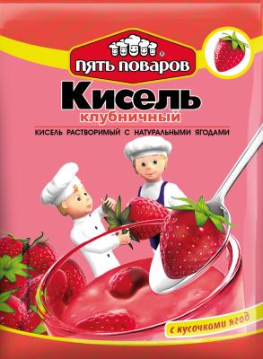 Кисель клубничный с натуральными ягодами 90г 5 поваров