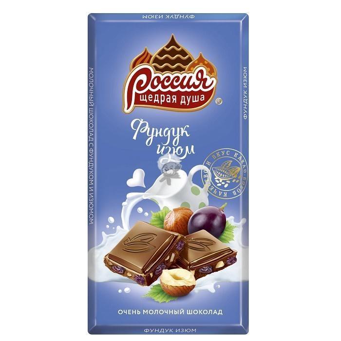 Шоколад Россия молочный фундук/изюм 90г