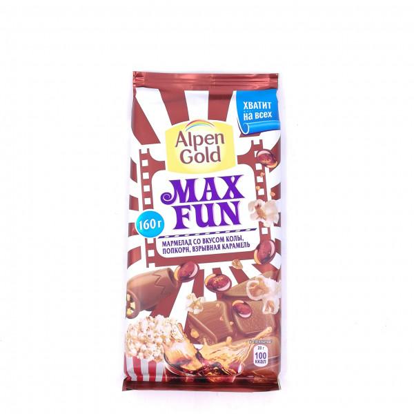 Шоколад Alpen Gold Максфан мармелад, вкус колы, попкорн и взрывная карамель150г