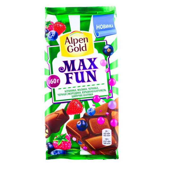 Шоколад Alpen Gold Максфан клубника, малина, черника 160г
