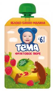 Пюре Тёма 90г Яблоко/банан/малина д/п