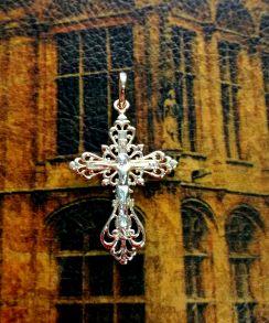 Позолоченный комбинированным золотом ажурный крест (арт. 250304)