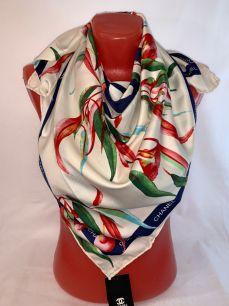 Шелковый платок Chanel с орхидеями, арт.076