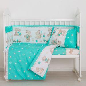 Комплект в кроватку «Мишки», 4 предмета, цвет зелёный, бязь