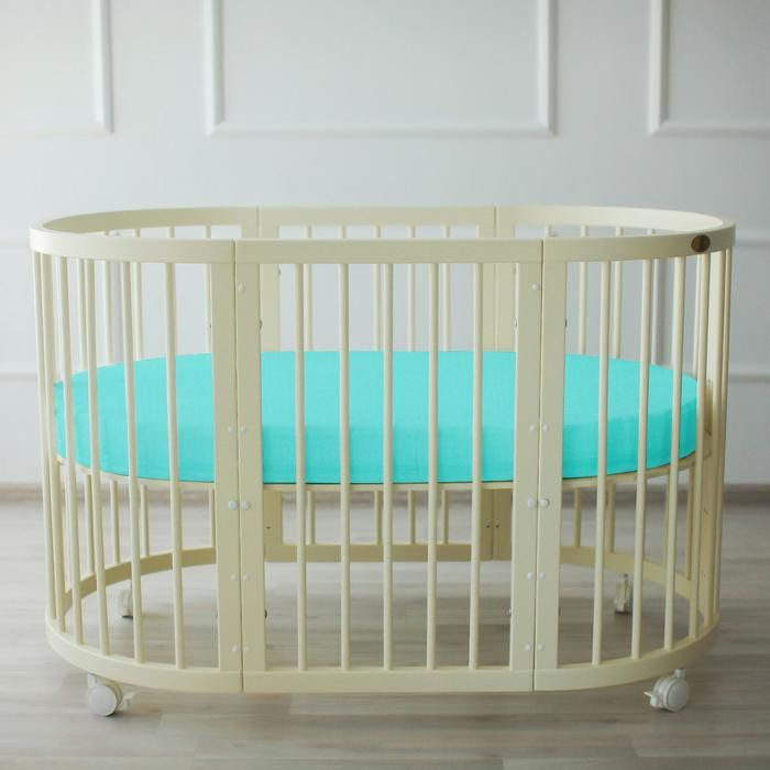 Простыня овальная «Крошка Я» 165х115 см, цвет мятный, мако-сатин
