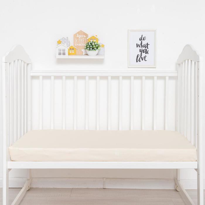 Простыня прямоугольная «Крошка Я» 100х160 см, цвет молочный, мако-сатин