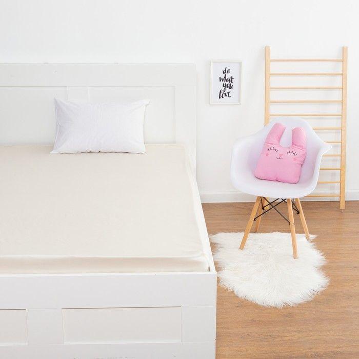 Простыня «Этель» цвет молочный, 160х210 см, мако-сатин