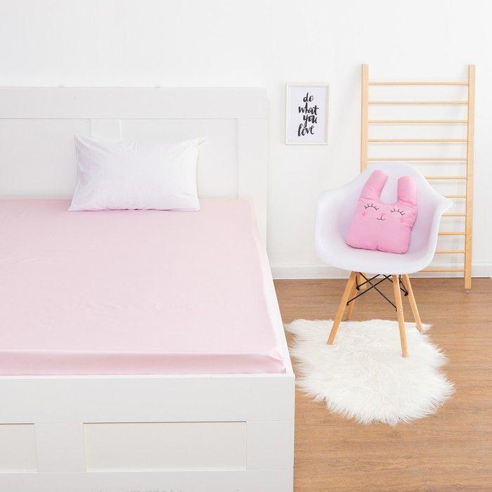 Простыня «Этель» цвет розовый, 160х210 см, мако-сатин
