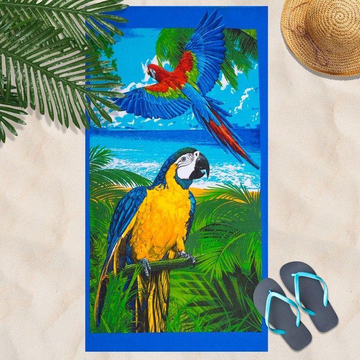 Вафельное полотенце Попугай 80х150 см, разноцветный, хлопок 100 %, 160г/м?