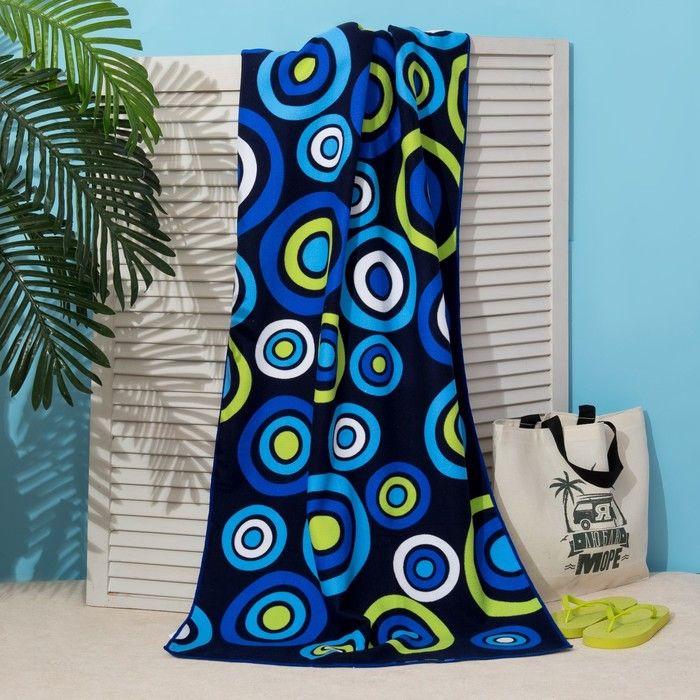 Полотенце пляжное Этель 70*140 см, Синие круги, микрофибра 250гр/м2   3936318