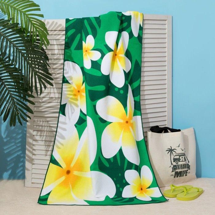 Полотенце пляжное Этель 70*140 см, Цветы на зеленом, микрофибра 250гр/м2   3936316