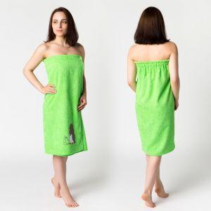 Килт жен КЖ-2019, 80х150+-2 нежная зелень, вышивка Пингвины, махра 300г/м хл100% 3568325
