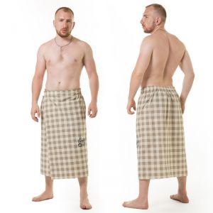 Килт(юбка) муж. вышивка, арт:КЛ-12В клетка серая, 75х145, полулён, Хл50%, лён50%, 160 г/м 2581050