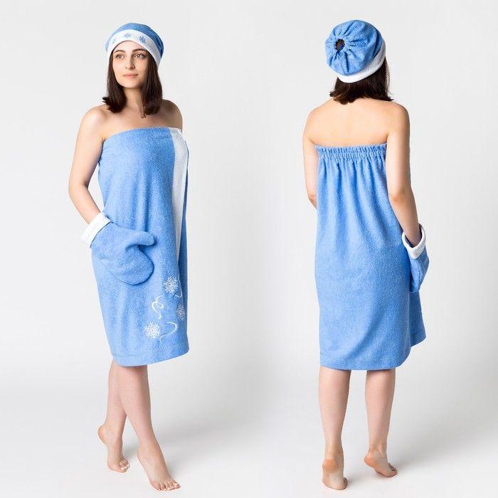 Комплект для сауны с вышив жен Снегурочка (юбка 80х150, вареж, шапка), махра 190г/м хл100% 3568323