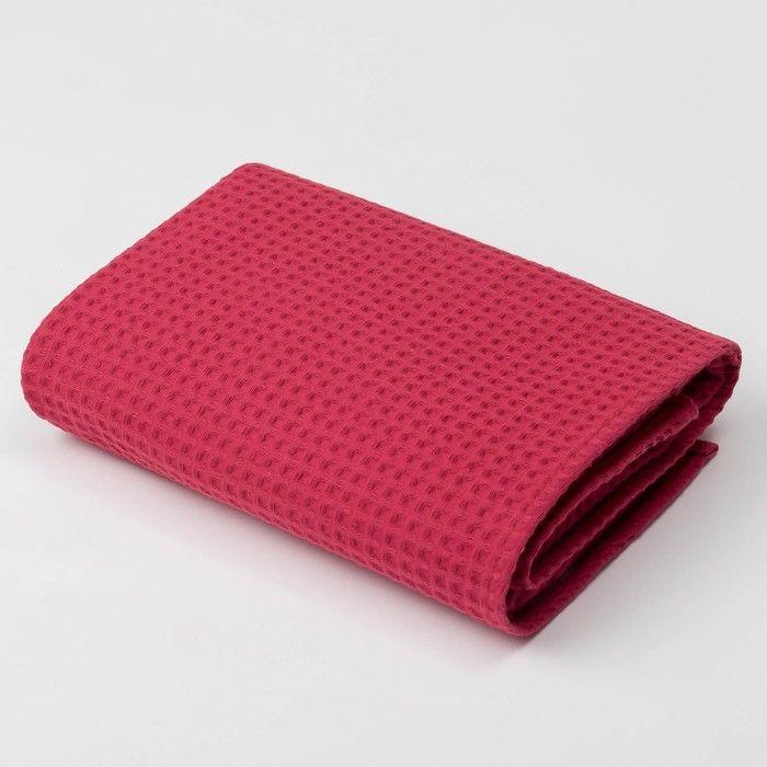 Полотенце вафельное «Этель» 70х140 см, цвет бордо, плотность 240 г/м2